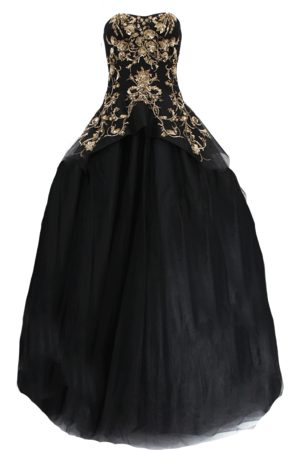 Marchesa Women Evening dresses - Gold Embroidered Tulle Gown