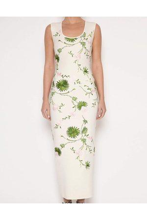 Giambattista Valli Floral Knit Column Midi Dress