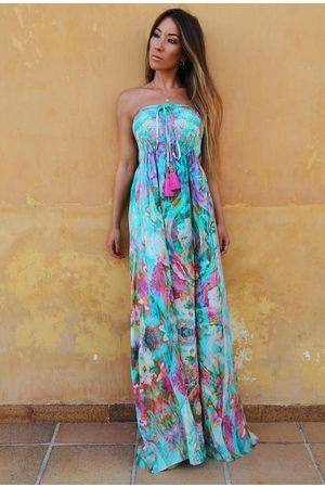 Sophia Alexia Liquid Rainbow Bandeau Maxi Dress