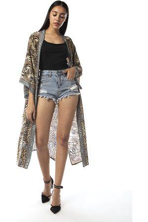 INOA Women Tunics - Silk Kimono Savannah Print Leopard