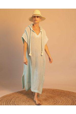 Lisa Marie Fernandez Blue Chios Gauze Hooded Caftan