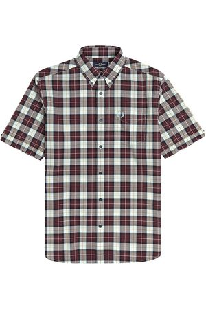 Fred Perry Men Short sleeves - Authentic Short Sleeve Button Down Shirt Check Mahogany