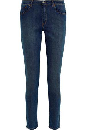Acne Studios Women Skinny - Woman Faded Mid-rise Skinny Jeans Dark Denim Size 23W-32L