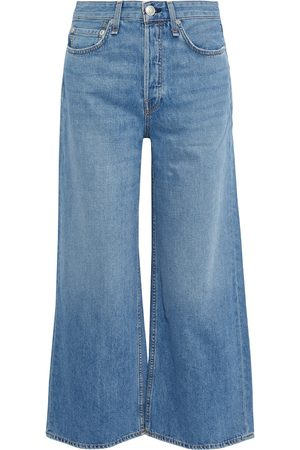 RAG&BONE Women High Waisted - Woman Maya Cropped High-rise Wide-leg Jeans Mid Denim Size 23