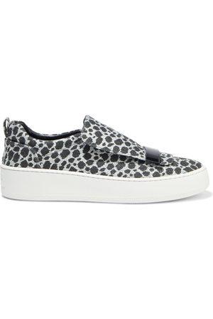 Sergio Rossi Women Flat Shoes - Woman Glittered Leopard-print Woven Slip-on Sneakers Size 37