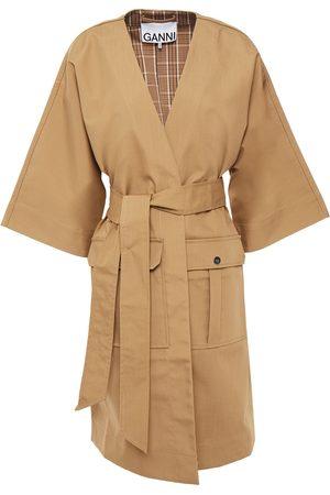 Ganni Women Coats - Woman Belted Cotton-blend Coat Sand Size L/XL
