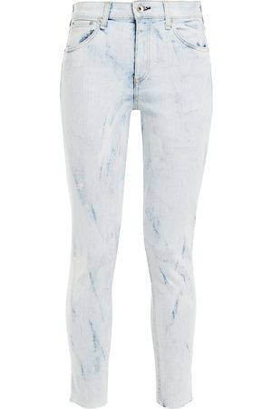 RAG & BONE Women Skinny - Woman Cate Cropped Bleached Mid-rise Skinny Jeans Light Denim Size 24