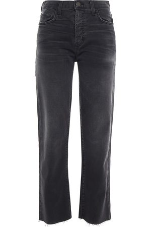 Current/Elliott Women High Waisted - Woman The Original Straight Cropped High-rise Straight-leg Jeans Charcoal Size 24