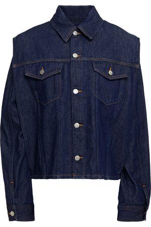 MM6 MAISON MARGIELA Women Denim Jackets - Woman Convertible Denim Jacket Dark Denim Size 36