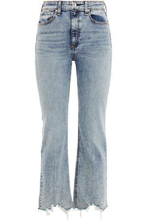 RAG&BONE Women High Waisted - Woman Nina Distressed Acid-wash High-rise Kick-flare Jeans Mid Denim Size 23