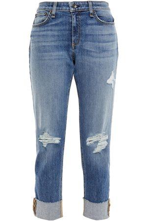 RAG&BONE Women Boyfriend Jeans - Woman Dre Distressed Slim Boyfriend Jeans Mid Denim Size 23