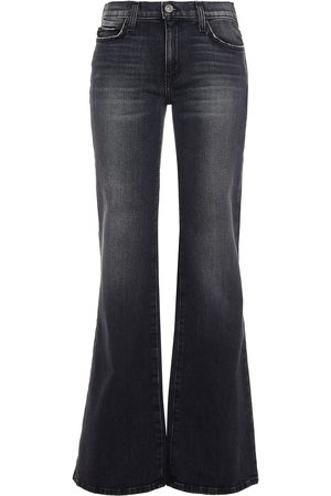 Current/Elliott Women Flares - Woman The Wray Faded Mid-rise Flared Jeans Charcoal Size 25
