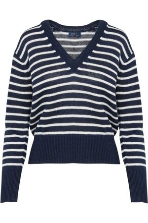 Ralph Lauren Womenswear V Neck Striped Long Sleeve Jumper