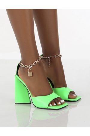 Public Desire Women Heels - Masie Bright Lock Chain Detail Anklet Strap Block Heels - US 5