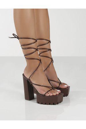Public Desire Certified Choc Chunky Platform Lace Up Heels - US 5