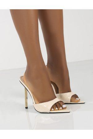 Public Desire Women Heels - Amber x Public Desire Powerful Wide Fit Croc Metallic Stiletto Heels - US 5