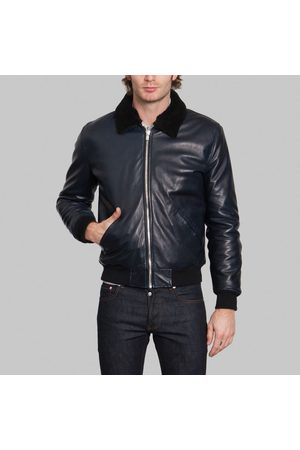 The Faraday Project Men Leather Jackets - Aviator Jacket Navy