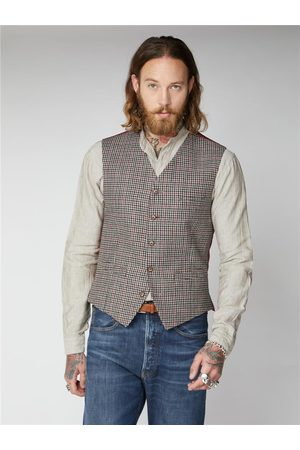 Gibson London Mason Fawn With & Red Check Waistcoat