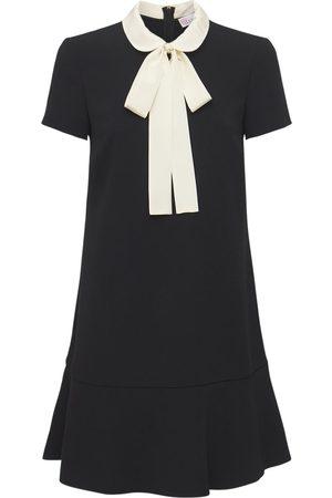 RED Valentino Crepe Mini Dress W/ Bow & Collar