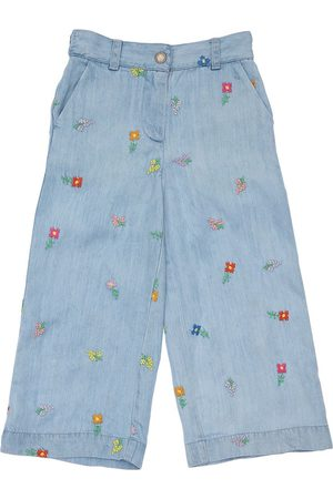 Stella McCartney Embroidered Wide Leg Lyocell Jeans