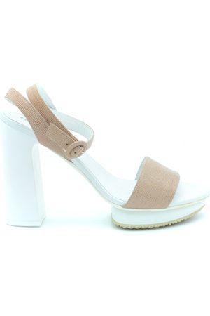 Hogan Heeled Sandals in White/