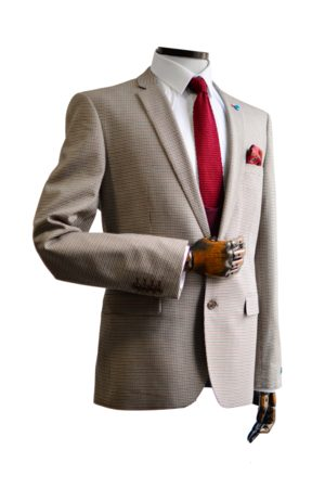 Spin Zach Taupe With Burgundy & Black Micro-Houndstooth Pattern Suit Jacket