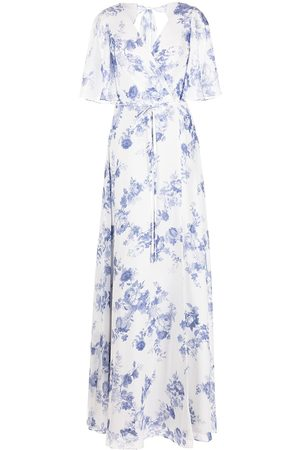 Marchesa Notte Women Printed Dresses - Floral-print wrapped maxi dress