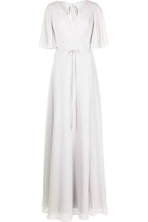 Marchesa Notte Women Evening dresses - Draped-sleeve rear-cutout gown - Grey
