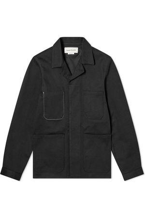 Alexander McQueen Men Denim Jackets - Embroidered Grafitti Logo Denim Jacket