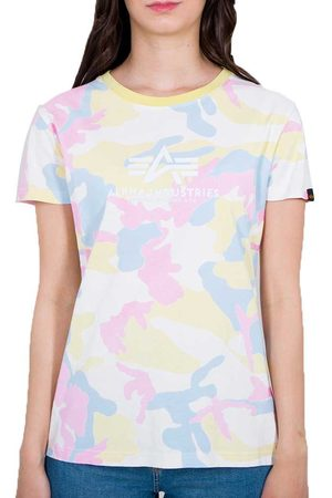 Alpha Industries Women Short Sleeve - Camo Basic Short Sleeve T-shirt XS Yellow Pink Camo