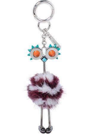 Fendi /Burgundy Mink Fur Ostrich Bag Charm