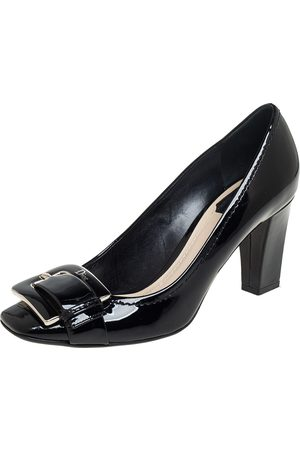 Dior Patent Leather Buckle Detail Block Heel Pumps Size 38