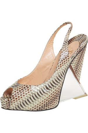 Christian Louboutin Python Peep Toe Slingback Acrylic Heel Platform Sandals Size 40