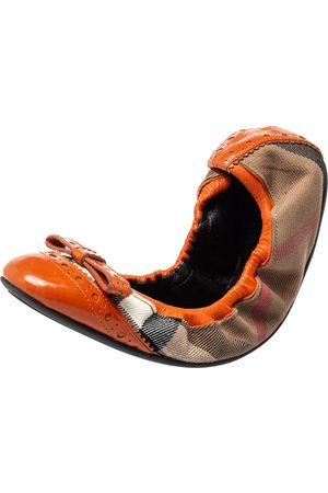 Burberry Women Ballerinas - /Orange Canvas And Leather Scrunch Ballet Flats Size 38.5