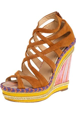 Christian Louboutin Women Wedges - Suede Caged Espadrille Tosca Wedge Sandals Size 39