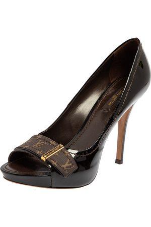 LOUIS VUITTON Women Platform Pumps - Patent Leather And Mini Lin Canvas Open Toe Platform Pumps Size 37.5