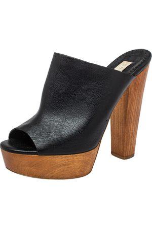 Stella McCartney Faux Leather Wooden Block Heel Platform Sandals Size 38.5