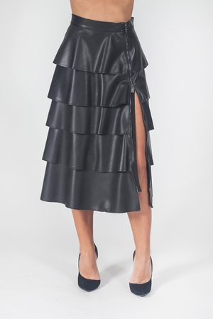 SFIZIO Women Leather Skirts - Faux leather skirt with ruffles
