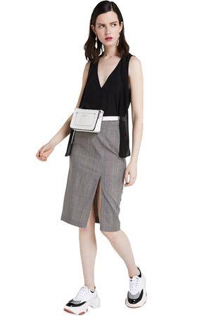 Patrizia Pepe Skirt Pencil Moon Check Grey