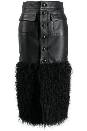 Saint Laurent Women Leather Skirts - SAINT LAURENT WOMEN'S 584940YC2YY1000 LEATHER SKIRT