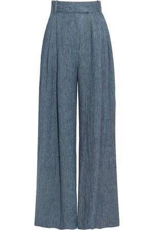 Three Graces London Denim Blue Molly Linen Wide Leg Trousers
