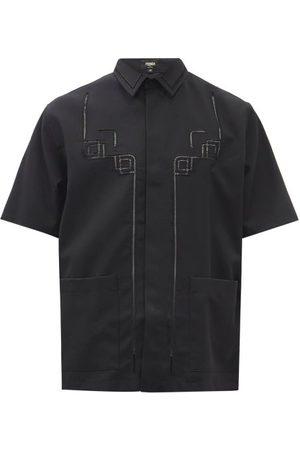 Fendi Men Short sleeves - Ladder-lace Wool Short-sleeved Shirt - Mens