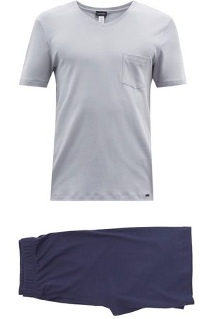 Hanro Men Sweats - V-neck Cotton-jersey Pyjamas - Mens - Grey Multi