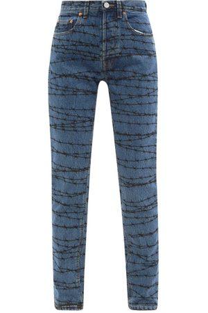 Vetements Women High Waisted - High-rise Barbed Wire-print Straight-leg Jeans - Womens - Light Denim