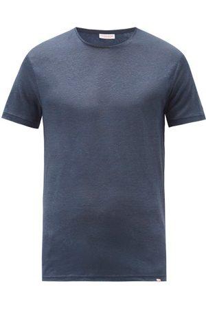 Orlebar Brown Men T-shirts - Round-neck Linen T-shirt - Mens - Navy