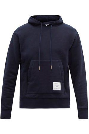 Thom Browne Men Sweatshirts - Tricolour-striped Cotton-jersey Hooded Sweatshirt - Mens - Navy