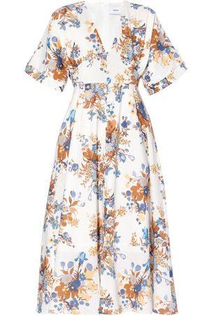 Erdem Vacation Ischia Vanessa-print Poplin Midi Dress - Womens - Multi