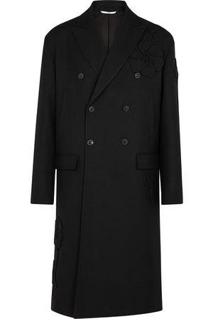 VALENTINO Floral-appliquéd wool coat