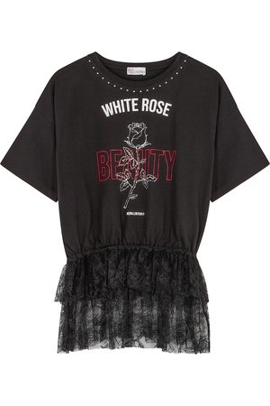 RED Valentino Printed lace-trimmed cotton T-shirt