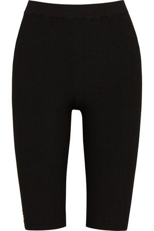 Saint Laurent Logo ribbed-knit cycling shorts